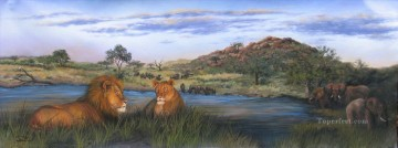African Oil Painting - lion and elephant African sunset