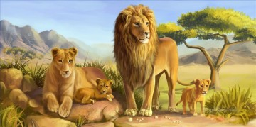 lion cartoon Oil Paintings