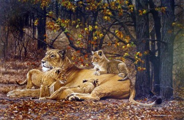 lioness and cubs Oil Paintings