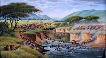 Mugwe Cross the Mara River Oil Paintings