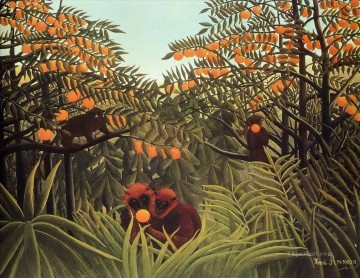 Animal Painting - apes in the orange grove Henri Rousseau monkey