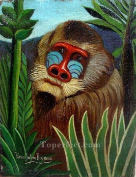 Animal Painting - mandrill in the jungle 1909 Henri Rousseau monkey