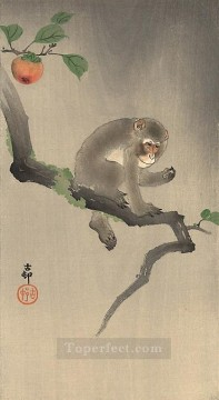 Animal Painting - monkey on the tree Ohara Koson