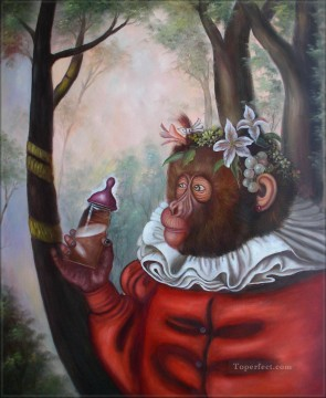 Animal Painting - clothing monkey in forest