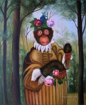 Animal Painting - floral monkey