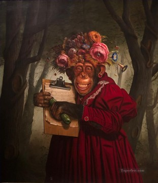 monkey in clothes holding music scroe Oil Paintings