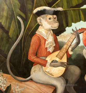 Playing Painting - monkey playing guitar