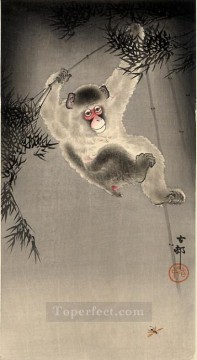Animal Painting - monkey swinging from a bamboo branch observing a fly Ohara Koson