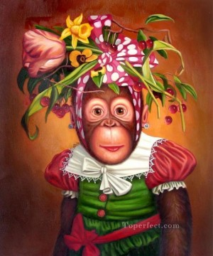 Monkey Painting - monkey wearing flowers