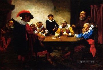 dogs playing poker Painting - The Poker Game William Holbrook Beard monkeys in clothes