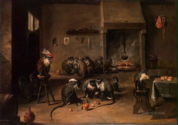 Chen Oil Painting - Teniers David II Monkeys in the Kitchen