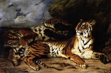 Tiger Painting - A Young Tiger Playing with its Mother