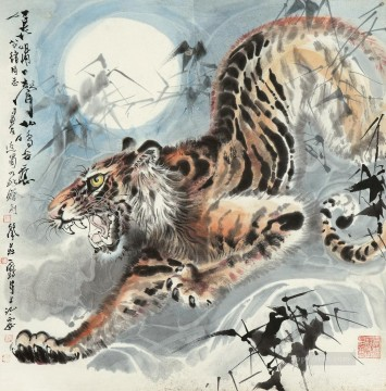 Tiger Painting - Chinese tiger under moon