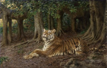 Tiger Painting - G za Vastagh Reclining tiger