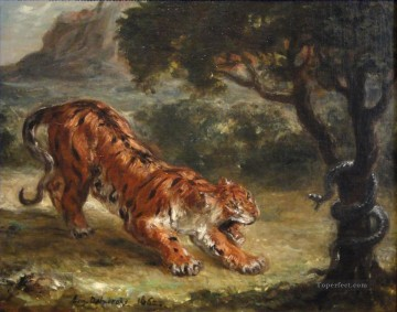 Tiger Painting - Tiger and Snake by Eugene