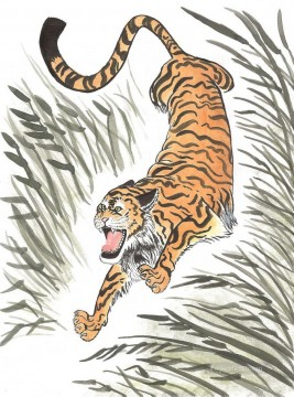 Animal Painting - chinese tiger running