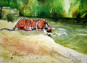 Tiger Painting - thirsty tiger