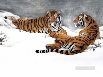 Tiger Painting - tigers on snow field