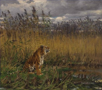 Animal Painting - G za Vastagh A Tiger in a Landscape