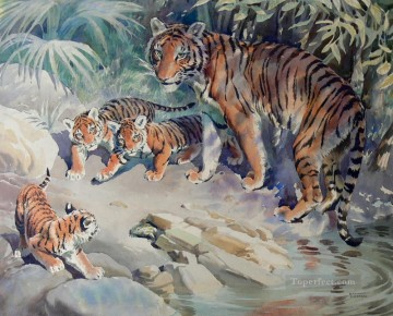 Tiger Painting - tiger and cubs 3