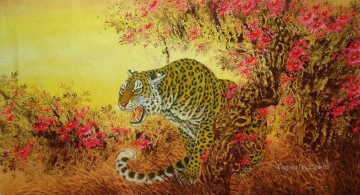 Animal Painting - tiger behind floral trees