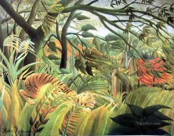 Animal Painting - tiger in a tropical storm