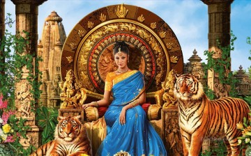 Tiger Painting - Indian lady and tigers