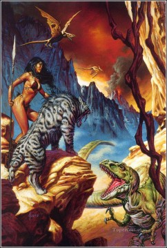 Fantastic Painting - fantastic tiger and dinosaur