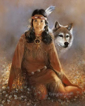 Wolf Painting - Indian Maiden 1