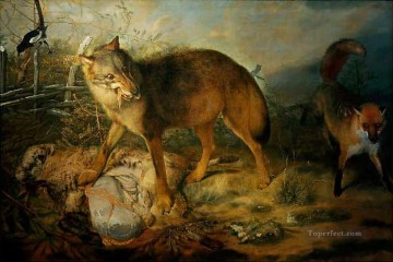 Animal Painting - Paudiss Christopher Wolf Fuchs und Schaf 1666