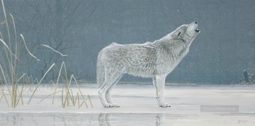Wolf Painting - howling wolf in snow