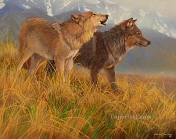Wolf Painting - shades of wolves