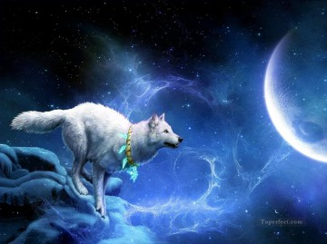 Wolf Painting - wolf and moon