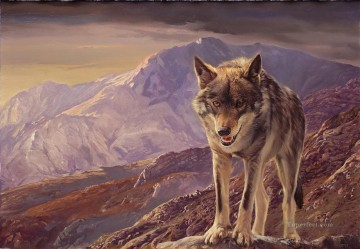 wolf in mountain Oil Paintings
