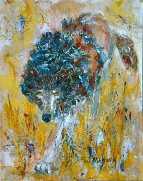 Animal Painting - wolf thick paints