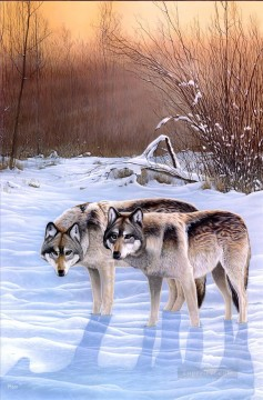 wolves in snow scene Oil Paintings