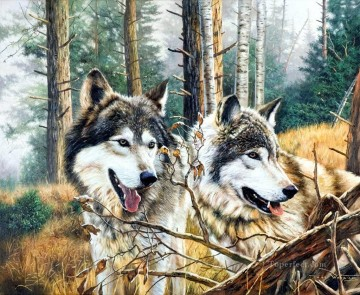 wooding wolves Oil Paintings