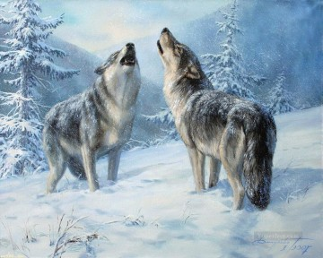 Animal Painting - howling wolves