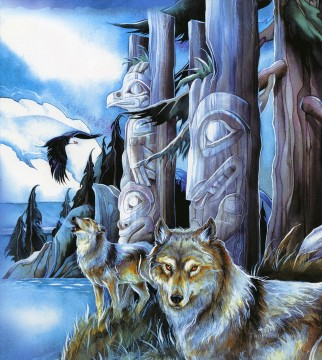Wolf Painting - wolf all are sacred