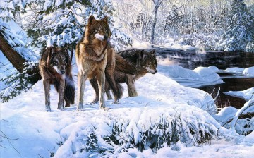 wolves in winter scenes Oil Paintings