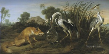 Animal Painting - sable of the fox and the heron