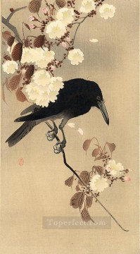 Bird Painting - crow on a cherry branch Ohara Koson birds