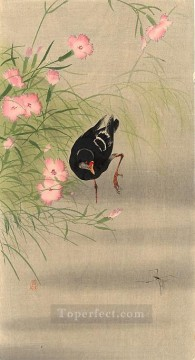Animal Painting - gallinule bird and water strider Ohara Koson birds