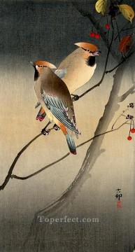 Animal Painting - jays on berry tree Ohara Koson birds