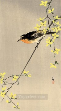 Animal Painting - orange breasted bird Ohara Koson birds