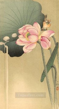 Animal Painting - songbird and lotus Ohara Koson birds