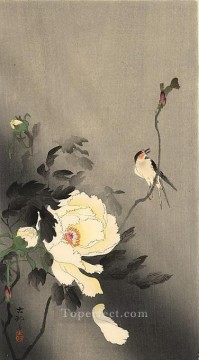 Animal Painting - swallow with peony Ohara Koson birds