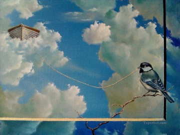 D bird in sky Oil Paintings