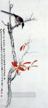 Bird Painting - Chang dai chien bird on tree old China ink birds