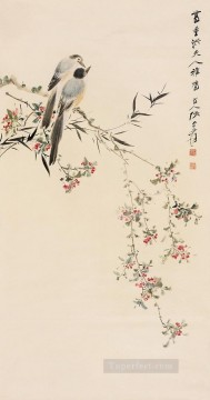 Bird Painting - Chang dai chien birds on floral branches old China ink birds
